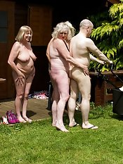After Stripping off in the Summerhouse we were naked and teasing the Gardeners well they soon rose to the occasion and came over and joined us in the summer house for some Fun in the sunClaire  xxx