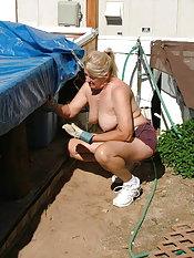 Come see my long legs in Daisy Duke shorts as I work on my new patio  there are some great ass shots just for you  and did I mention I just had to finish the job totally naked  how do you think I relaxed